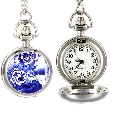 Vintage Calendar Pocket Watch Gun Metal Case Alloy Openable Blue Flowers Pattern