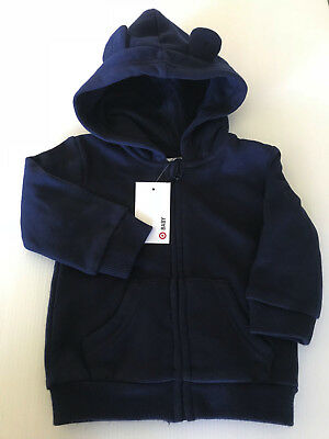 BNWT Target Baby Size 00 Navy Blue Warm Zip Front Hoodie Jacket With Cute Ears