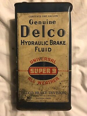 VINTAGE Rare Large DELCO HYDRAULIC BRAKE FLUID One Gallon Oil CAN  - Full