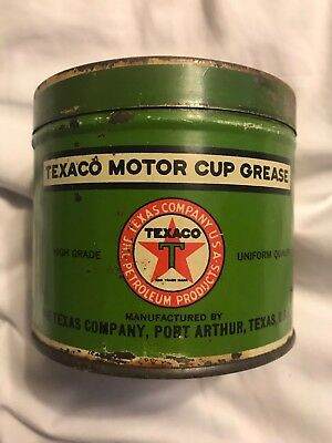 Old Early Texaco Motor Cup Grease Oil Metal 1 lb Can Original Texas Company