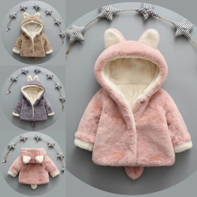Winter Baby Kids Girls Fleece Coat Warm Hooded Jacket Outwear Overcoat for 0-3Y
