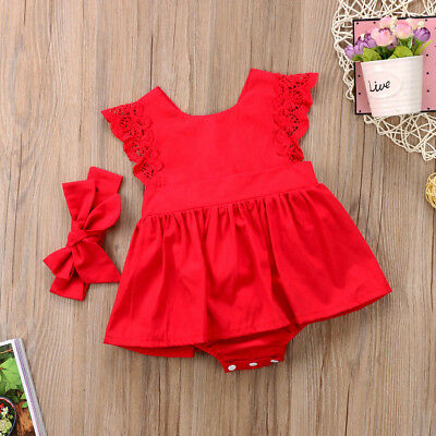 US Stock XMAS Newborn Baby Girl Lace Princess Romper Dress Flower Dress Clothes