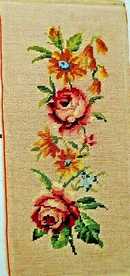 Tapestry Completed Framed Roses 25 X 52 Cm
