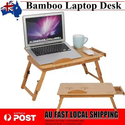 Bamboo Folding Laptop Bed Desk For Notebook Computer iPad Stand Table AU STOCK