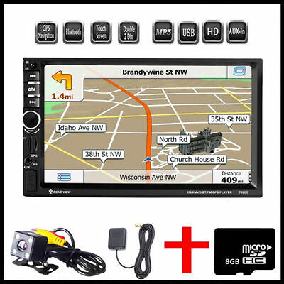"Double 2 DIN Car 7"" Player Stereo FM Radio GPS Sat Nav Bluetooth USB AUX +Camera"
