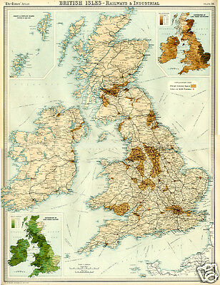 1922 Map RAILWAYS INDUSTRIAL Sea Routes BRITISH ISLES Very Large Detailed