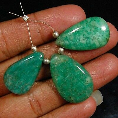 Aaa 100% Natural Designer Drilled Bead Green Amazonite Loose Gemstone Lot 3 Pc