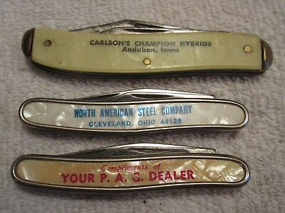 vintage advertising Colonials PAG Dealer Carlson's Hybrids folding knives lot F