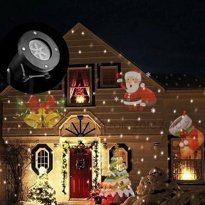 LED Projector Christmas Birthday Party Lights In/Outdoor Moving Santa Lighting