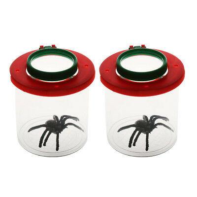 2pcs Bug Viewer Plastic Transparent Insect Catcher Bug Box With Double-lens
