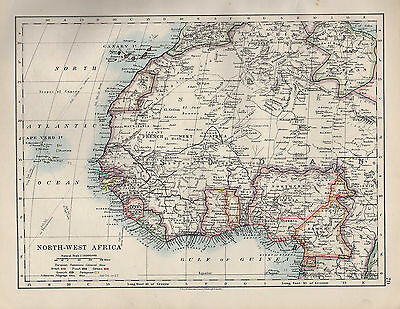 1909 Victorian Map ~ North-West Africa ~ Canary With European Possessions