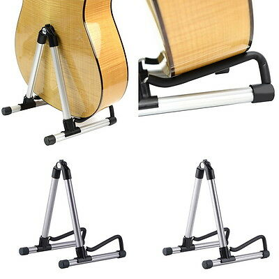 Folding Electric Acoustic Bass Guitar Stand A Frame Floor Rack Holder QT