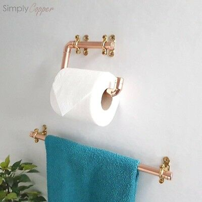 Copper Toilet Roll Holder & Towel Rail + Brass Fittings - Real Copper Handmade