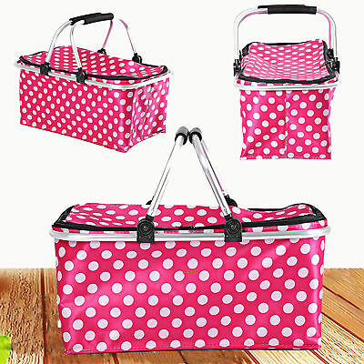 Large 30l Folding Picnic Camping Insulated Cooler Cool Hamper Basket Zip Bag Box