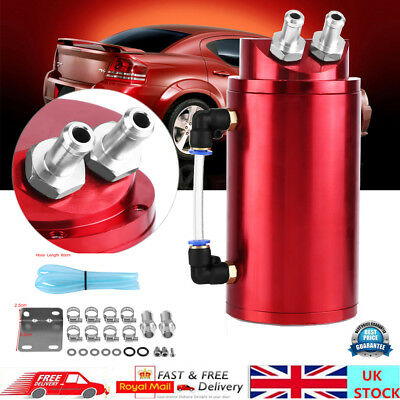 Aluminum Oil Catch Can 15mm Fittings Universal Alloy Breather Tank Catcher Red