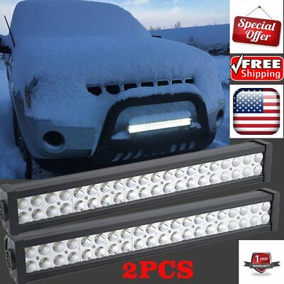 2PC 22Inch LED Light Bar Spot Flood 7D ATV SUV Offroad 4WD Work Driving Lamps GO