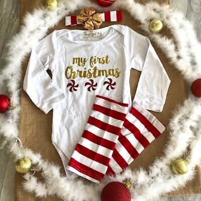 Baby's Red and Gold My First Christmas Romper Set, Present Love Festive Party UK