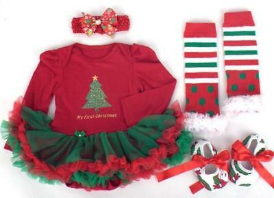 Baby Girl's My First Christmas Outfit Set Present Newborn Festive Party Cute UK