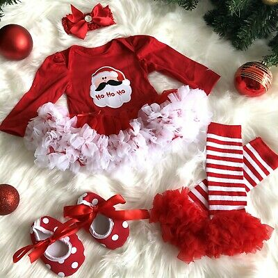 Baby Girl's Red Tutu Dress Christmas Santa Outfit Present Newborn Party Cute UK