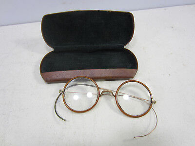 Vintage Onliwon Amber Lucite Round Glasses Frames with Case