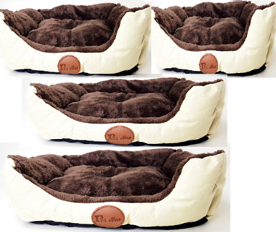 New Soft Washable Cat Dog Pet Basket and Bed Cushion with Fleece Lining Brown