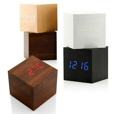 NEW Cube Wooden Wood Digital LED Desk Voice Control Alarm Clock Thermometer SG
