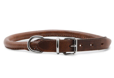 Ancol Dog Puppy ROUND Sewn Leather Collar Chestnut Buckle D Ring Various Sizes