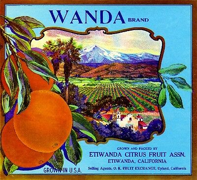 Etiwanda Upland San Bernardino Wanda Orange Citrus Fruit Crate Label Art Print