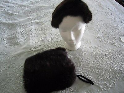 Child's Vintage Ranch MINK HAND MUFF & SABLE HAT *FREE SHIPPING