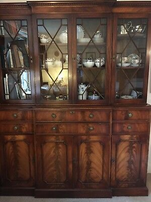 Georgian Style Flame Mahogony Breakfront Astral Glazed Secretaire and Bookcase