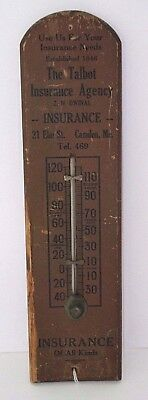 """Antique Wooden Thermometer """"Talbot Insurance Co."""" Camden, ME Wooden Thermometer"""