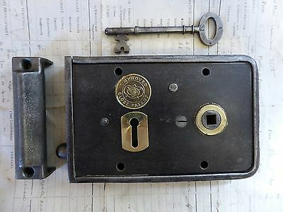"6 1/4"" x 4"" Victorian Cast Iron & Brass Door Rim Lock, Key Keep - Wolverhampton"