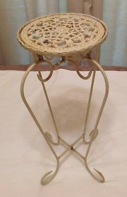 "Beautiful Small 17"" Victorian Ivory Metal Ornate Plant Stand Rustic/Chippy"