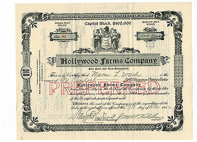 Hollywood Farms Company 1912 Stock Certificate #A3