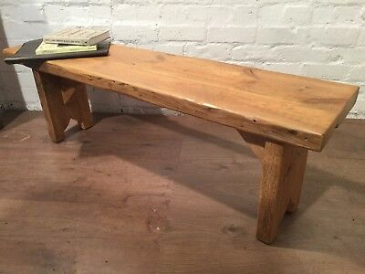 X-Wide 4ft HandMade Reclaimed Pine Beam Solid Wood Dining Bench Light Oak Finish