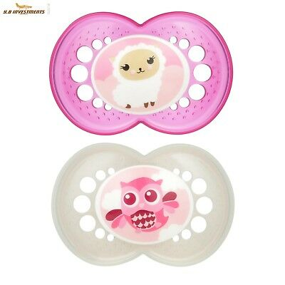 MAM Animal Orthodontic 2 Piece Pacifier, Girls, 16+ Months