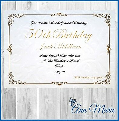 10 x PERSONALISED 50th BIRTHDAY PARTY INVITATION CARDS INVITES WITH ENVELOPES