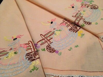 Vintage Hand Embroidered Linen Tablecloth CRINOLINE LADIES and Lace