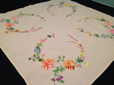 Vintage Hand Embroidered Linen Tablecloth GORGEOUS HONEYSUCKLE