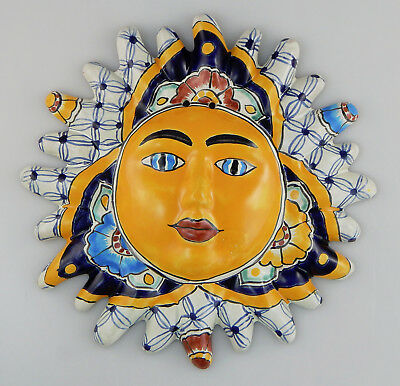 MEXICAN FOLK ART Sun Face Ceramic Talavera Wall Hanging Handpainted ...