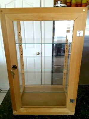 Retail Counter Display Wood Case w/ Glass Shelves