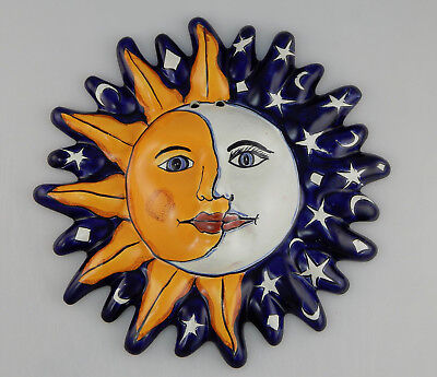 Mexican Folk Art Sun Face Ceramic Talavera Wall Hanging Handpainted Mexico - 17