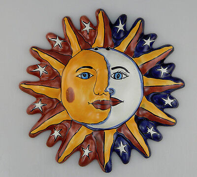 Mexican Folk Art Sun Face Ceramic Talavera Wall Hanging Handpainted Mexico - 19