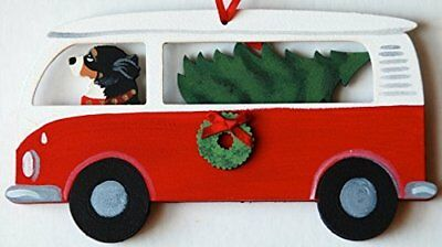 Bernese Mountain Dog Hippie Van Wood Handpainted 3-D Christmas Ornament - USA