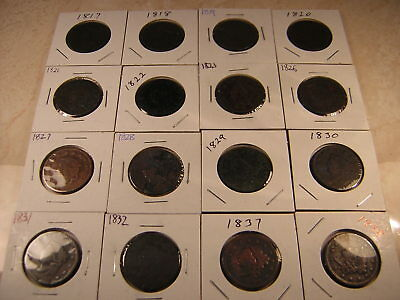 16 Large Cents,  Very Good To Very Fine Condition,  1817-1838