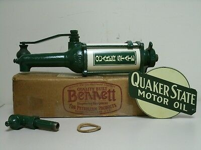Quaker State Oil Barrel Pump Service Station Equipment Company Bennett w/ sign