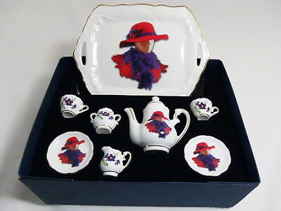 Reutter Porcelain Woman with Red Hat Miniature Collectible Tea Set New