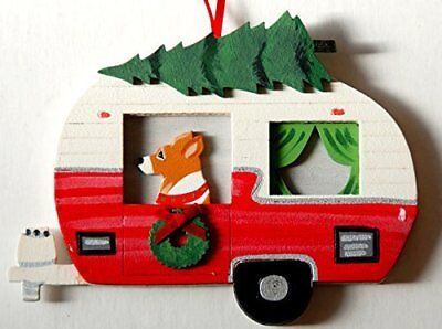 Welsh Corgi Dog Vintage Camper  Wood Hand-painted 3-D Christmas Ornament USA