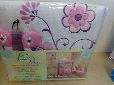 Little Bedding by Nojo Infant Girl's 4-Pc Crib Bedding Set Butterfly Blossoms