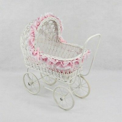 Nicole Classic Cane Wicker Girls Toddler Dolls Pram Linen Play Strong 2 Heights